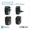 Travel Adapter With Dual USB And With Replaceable Plug Standard Is US UK EU AU