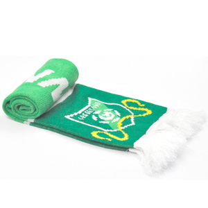Wholesale Customized Green Printing Dye Weave Soccer Sports Scarf Long Football Team Knitted Fan Scarf With Tassels