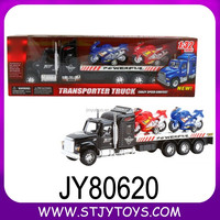 friction toy trailer truck with 2 motorcycles toy truck manufacturer