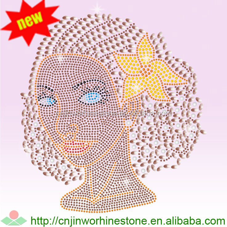 afro girl hotfix rhinestone transfer, garment accessory rhinestone transfer afro girl (51)