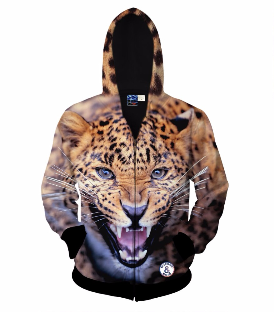 Factory Price Breathable Polyester Long Sleeves Cotton Leopard Print Fleece Zipper 3d Hoodies