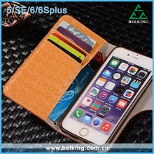 Handmade Leather Card Slots Cases For iPhone5 SE 6 6Plus, PU Kickstand Case For iPhone 6