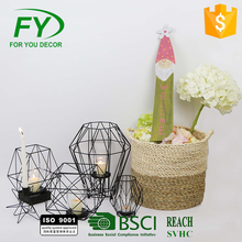 Ch-31725 Table And Room Matt Black metal wire candle holder And Clear Glass Tube Tealight Inside for wedding decoration