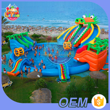 Hot Selling Custom Fair Prices Summer Games Marine Theme Giant Swimming Pool With Slide Inflatable Water Park For Sale