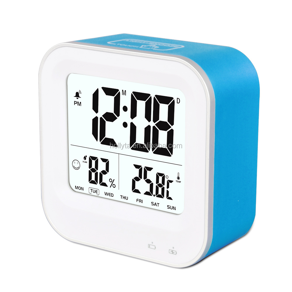 LCD Digital Display Thermometer Hygrometer Indoor Electronic Temperature Humidity Meter Clock Weather Alarm Clock