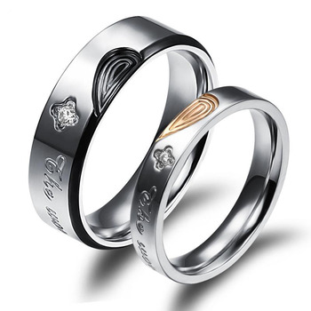 Fashion Love Heart Promise Titanium Stainless Steel Eternal Love Couple Rings
