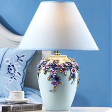 Decorative flower designs light blue resin material hotel led desk lamp