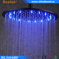 Beelee Hydro Power Temperature Controlled LED 16 inch Large Rain SS Shower Head