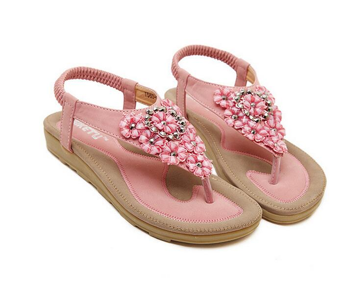 Women Sandals <strong>Flat</strong> with Bling Rhinestone Fashion Flip Flop Beach Shoes