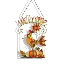 Rooster Welcome Hanging Door Sign