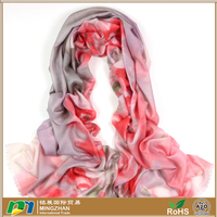 Fashionable soft warm large fine 100% wool scarves with beautiful floral print cashmere neck scarf shawls