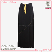 Western style extra long drawstring embellished black skirt with elastic band