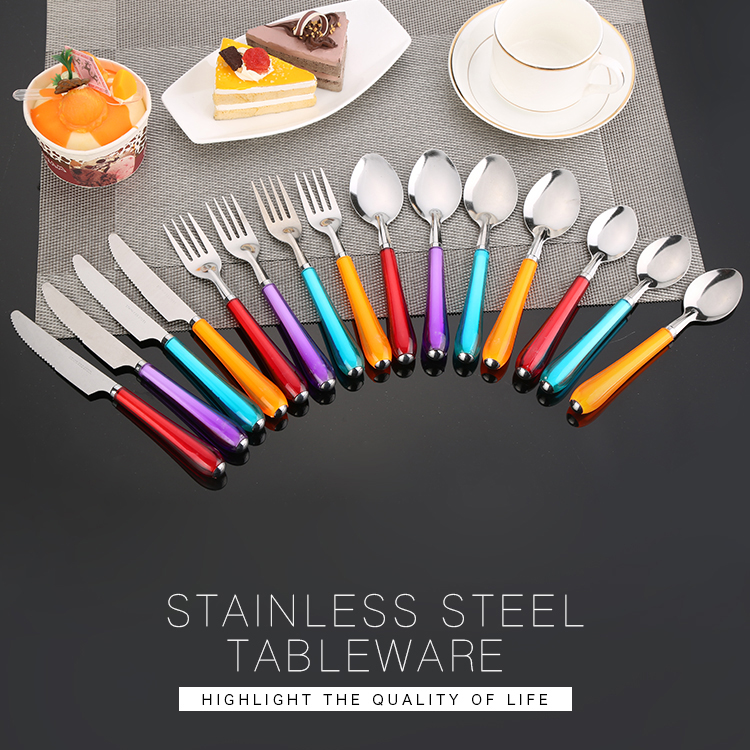 Transparent 18-10 Stainless Steel Cartoon Rainbow-colored Plastic Handle Cutlery Set For Children