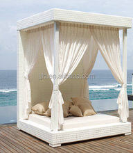 Rattan Beach Sunbed Garden Canopy Bed Outdoor Cabana Beds