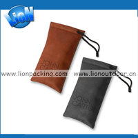 Wholesale leather watch pouch drawstring sunglasses pouch,microfiber printing pouches