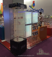 180cm high brilliant design floor standing acrylic display case with five rotating clear floor ST-RC6-C K02