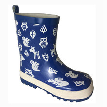 Waterproof blue animal print rubber rain boots children with cheap price