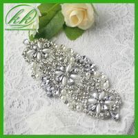 Low Price rhinestone beaded applique patch bridal,new arrival wedding rhinestone applique