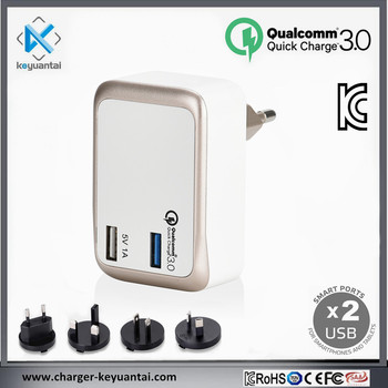 23W QC3.0 2USB Port KC certified Qualcomm Korea Quick Charge Phone Charger USB2.0