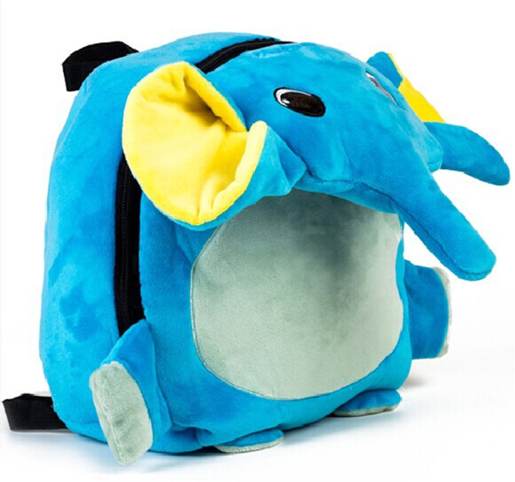Children Blue Elephant shape school bags backpack plush Book Bags