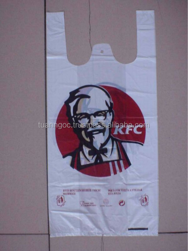Plastic T-shirt bag for KFC store/ Plastic bag safe-using for food export to Germany