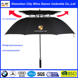 High quality straight car promotional fiberglass new invention windstorm umbrella double layers golf umbrella with air vents