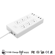 Flat Plug 6 Outlet Surge Protector Voice Control Power Strip Smart Wifi Plug