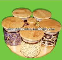 Airtight decorative glass spice jar with wood/bamboo lids