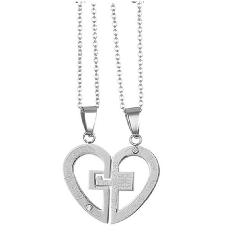 Yiwu Meise Stainless Steel Mens Womens Couple Necklace Pendant Love Heart with Engraving Design
