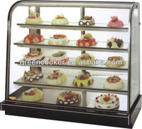 curved glass cake display showcase
