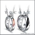 Double Cluster Diamond Rings Pendant Couple Chain Necklace
