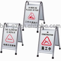 Customize Double Side Stainless Steel Stackable Parking In Repair Danger Warning Floor Standing Sign Stand Outdoor Signs Board