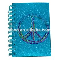 rhinestone sticker notebook with clasp hot drilling PEACE custom spiral notebook