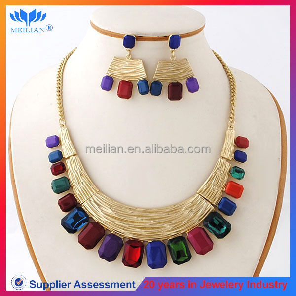 colorful necklace earring set fashion wedding jewelry set