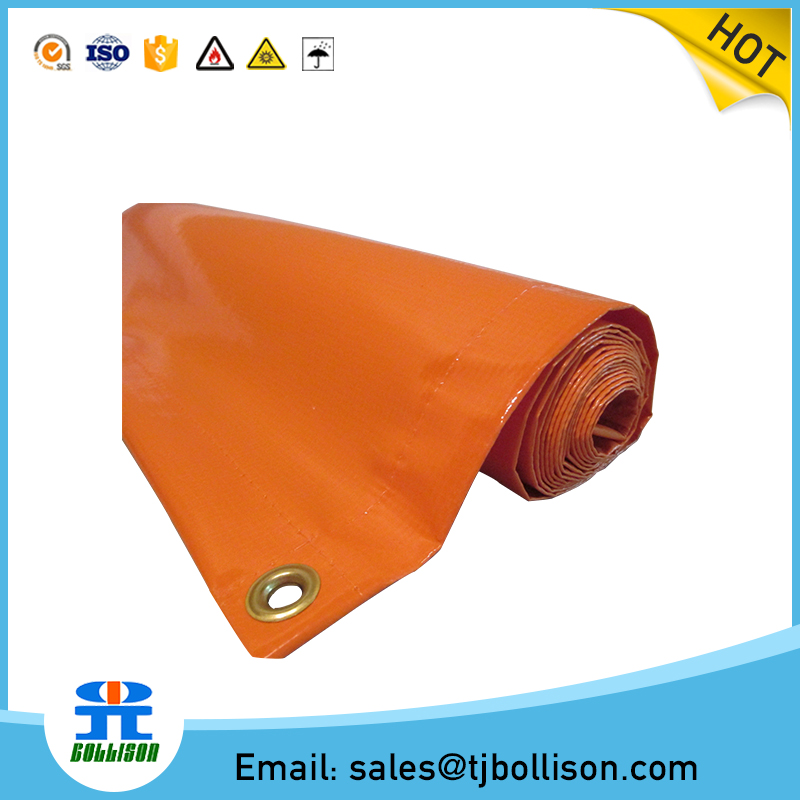 200DX300D 18X12 300GSM 20ftX20ft PVC Orange Fire Retardant Tarpaulin