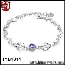 China Market Silver Plated Amethyst Lovely Dolphin Bracelets