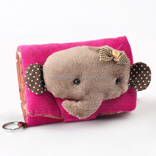 lovely cartoon character corduroy kids wallet wholesale