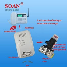 110V-220V wired/wireless/standalone LPG gas leak detector sensor alarm with auto shut-off valve