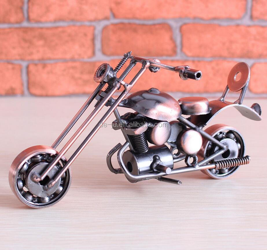 Antique Brass Custom Diecast Model Motorcycle