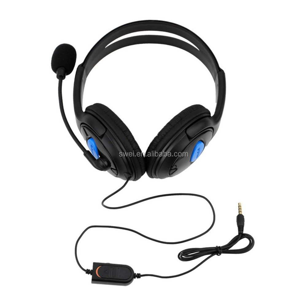Over-the-Head Wired Chat Headset With In-Line Volume and Mute Controls For PS4/Laptop/PC/Tablet/Mobile phone