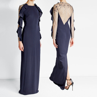 Latest design fashion women apparel floor length crepe with lace back evening dress