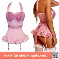 Pink Sequined Halter Steel Boned Corset Skirt Sexy Lingerie