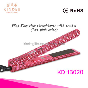 Beauty Salon tools bling bling diamond inlaid flat iron LCD digital hair straightener