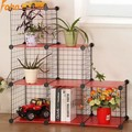 6 cubes metal wire flower rack assebled by plastic panel and wire panel (FH-AW0159)