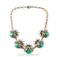 Brand New Pave Seed Pearls Green Crystals Gem Ladybug Statement Necklace