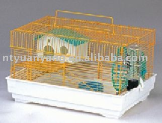 small Yellow hamster mouse cage with plastic tray