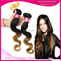 Free shipping aliexpress hair T color 16'' 18'' 20'' 3 pcs a pack ombre hair weaves