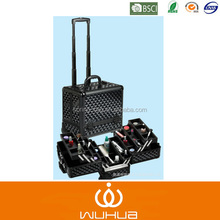 2014 fashion new travelling aluminum trolley makeup case with trays