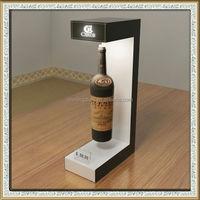 magnetic floating wine bottle display rack,magnetic levitating wine bottle led glowing promotional display stand