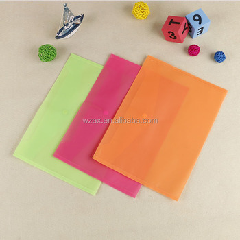 Solid color plastic popper closure file bag a4 document pouch